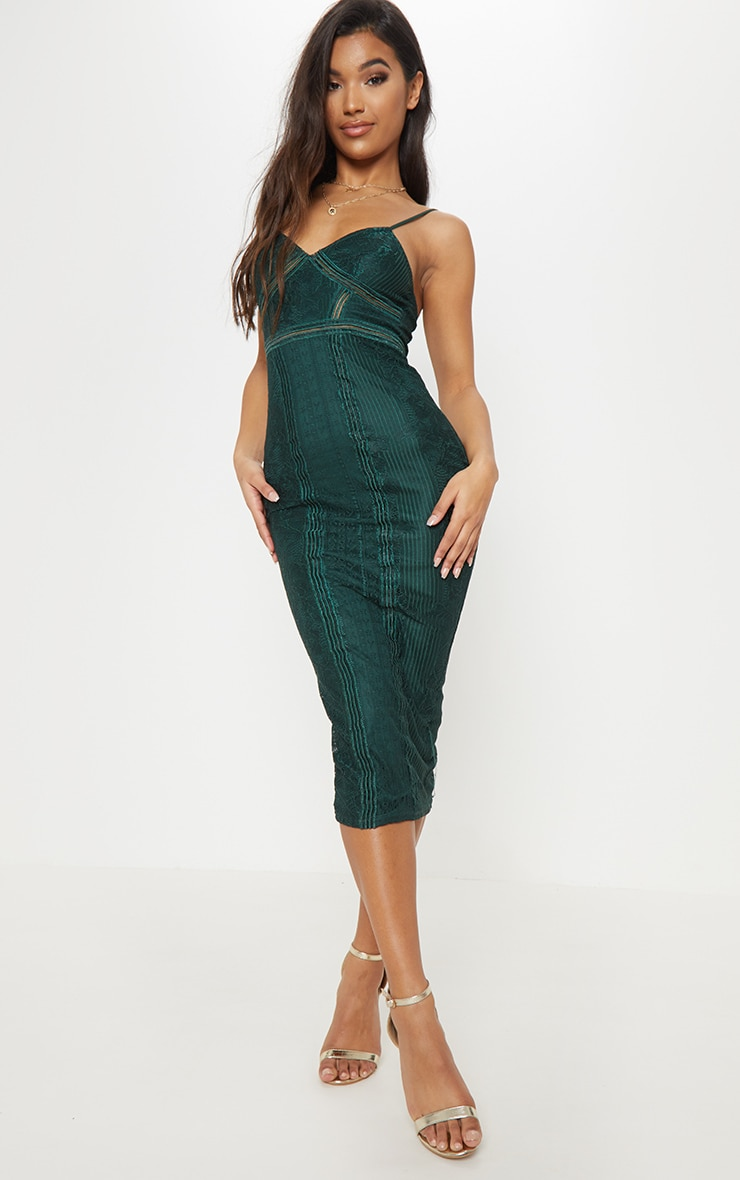 Emerald Green Lace Mesh Stripe Insert Midi Dress 1