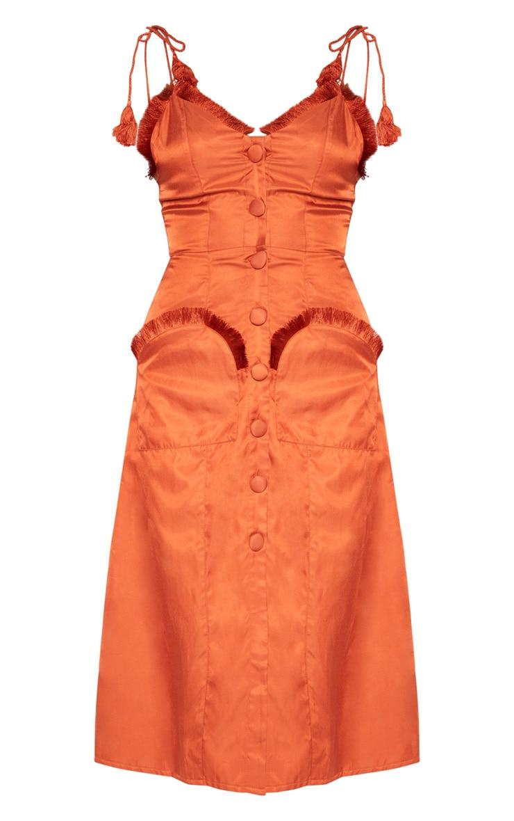 Rust Tie Shoulder Fringe Detail Button Midi Dress 3