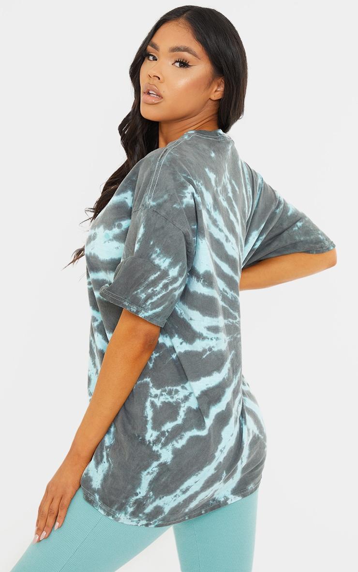 Green Tie Dye Print Oversized T Shirt 2