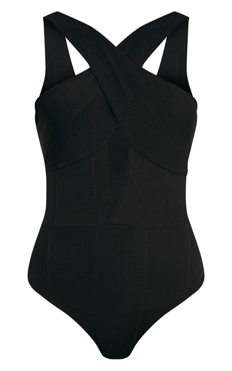Rylee Black Bandage Cross Front Choker Thong Bodysuit 3