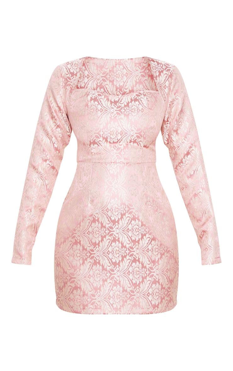 Pink Long Sleeve Jacquard Bodycon Dress 5