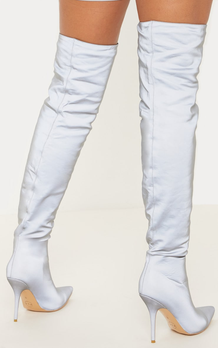 Grey Reflective Over The Knee Heel Boot 2
