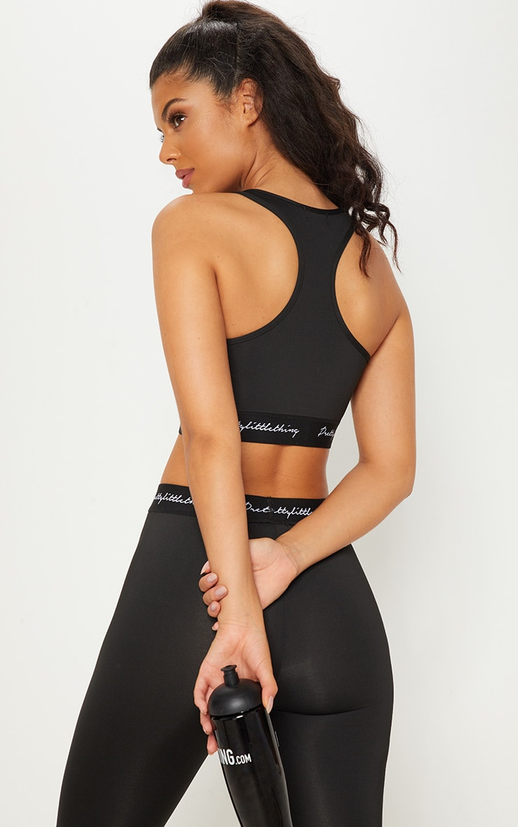 PRETTYLITTLETHING Black Embroidered Crop Top 3