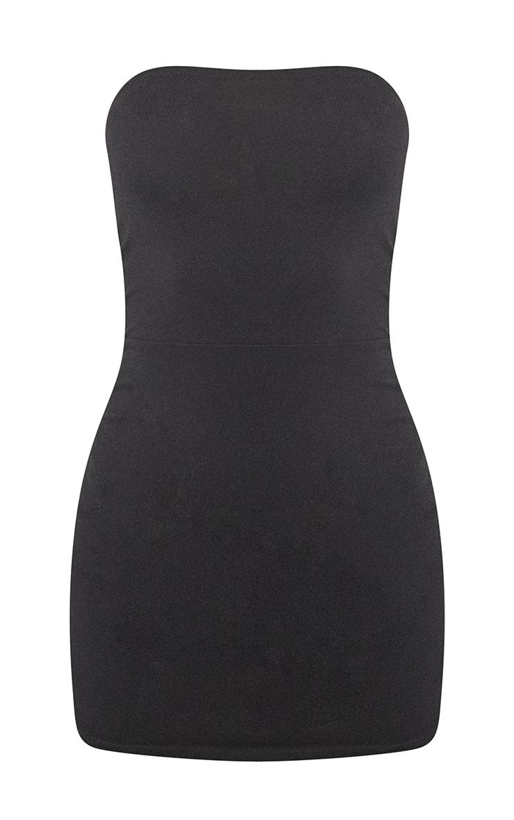 Basic Black Cotton Blend Bandeau Pointy Hem Bodycon Dress 5