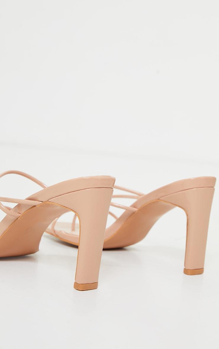 Nude Triple Strap Toe Thong Flat Heel Square Toe Mules 4