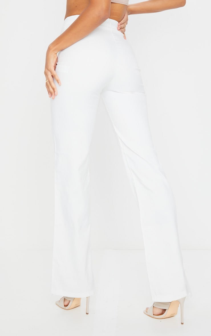 Anala Cream High Waisted Straight Leg Pants 3