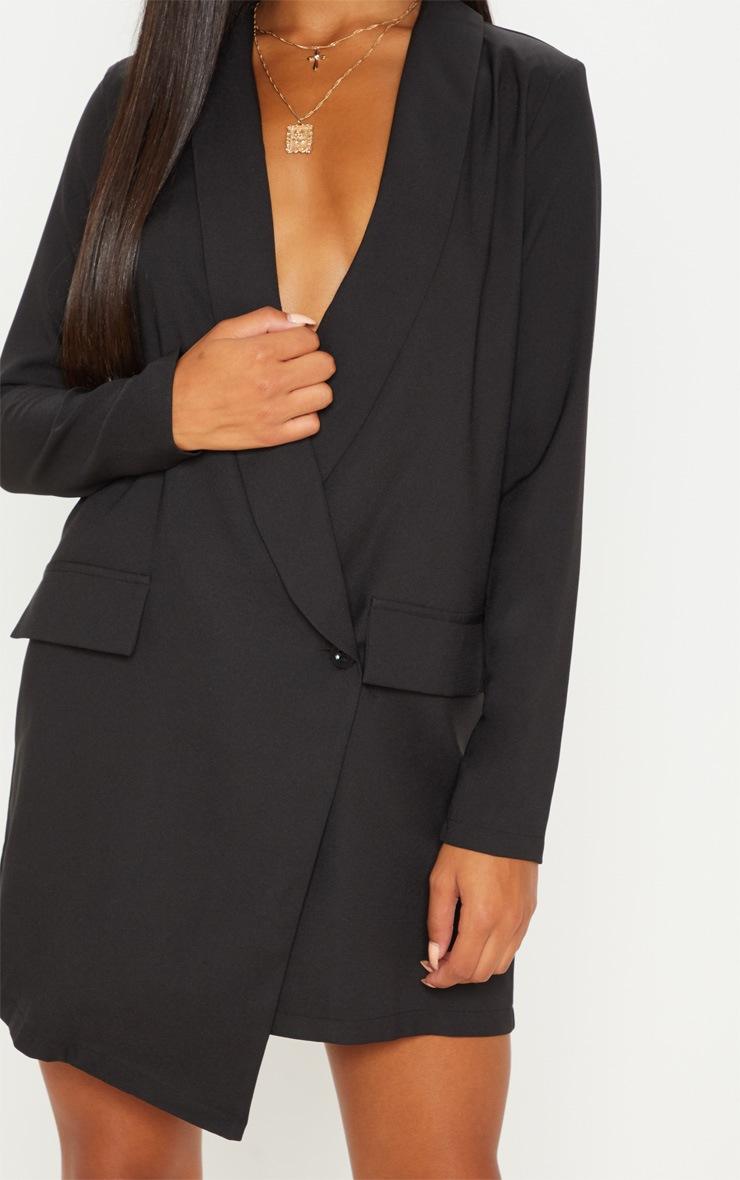 Black Asymmetric Hem Oversized Blazer Dress 5