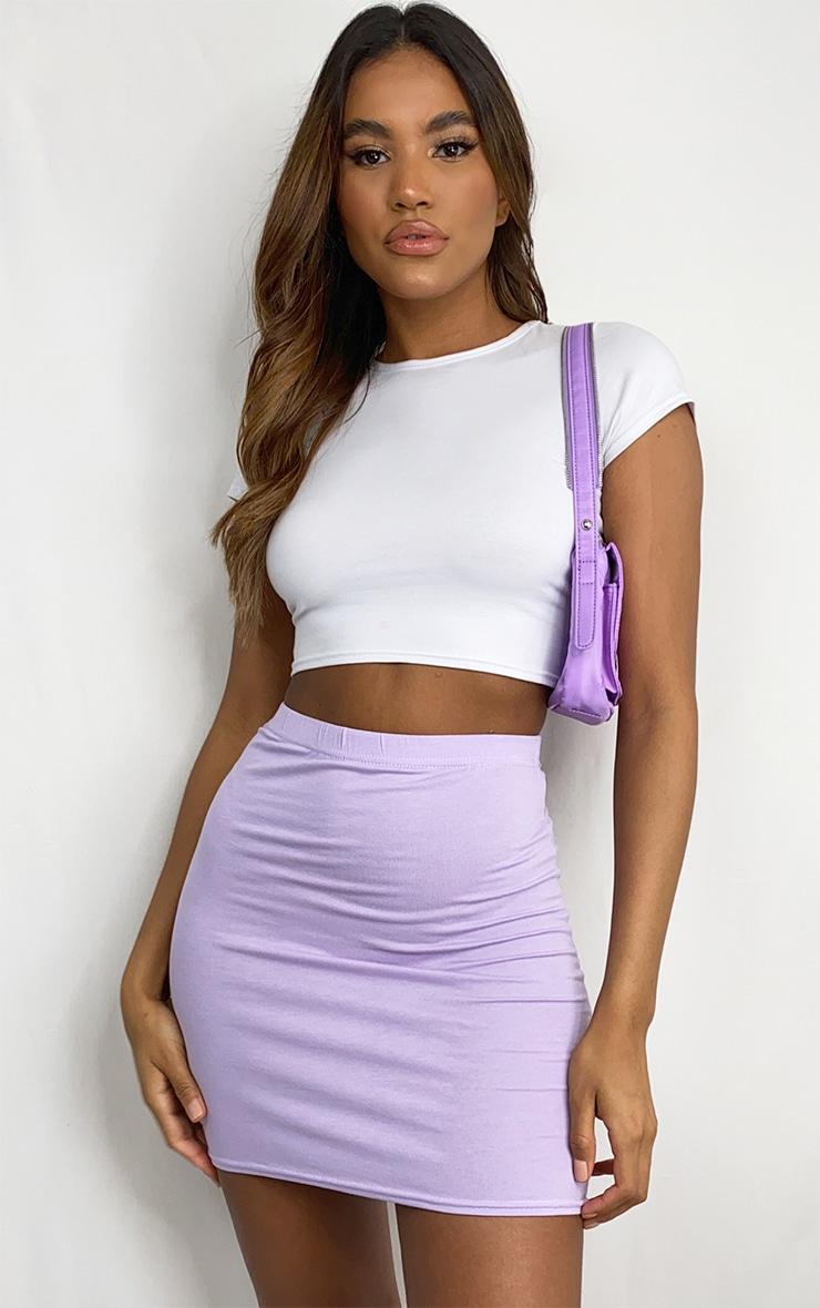 Lilac Basic Jersey Mini Skirt 1