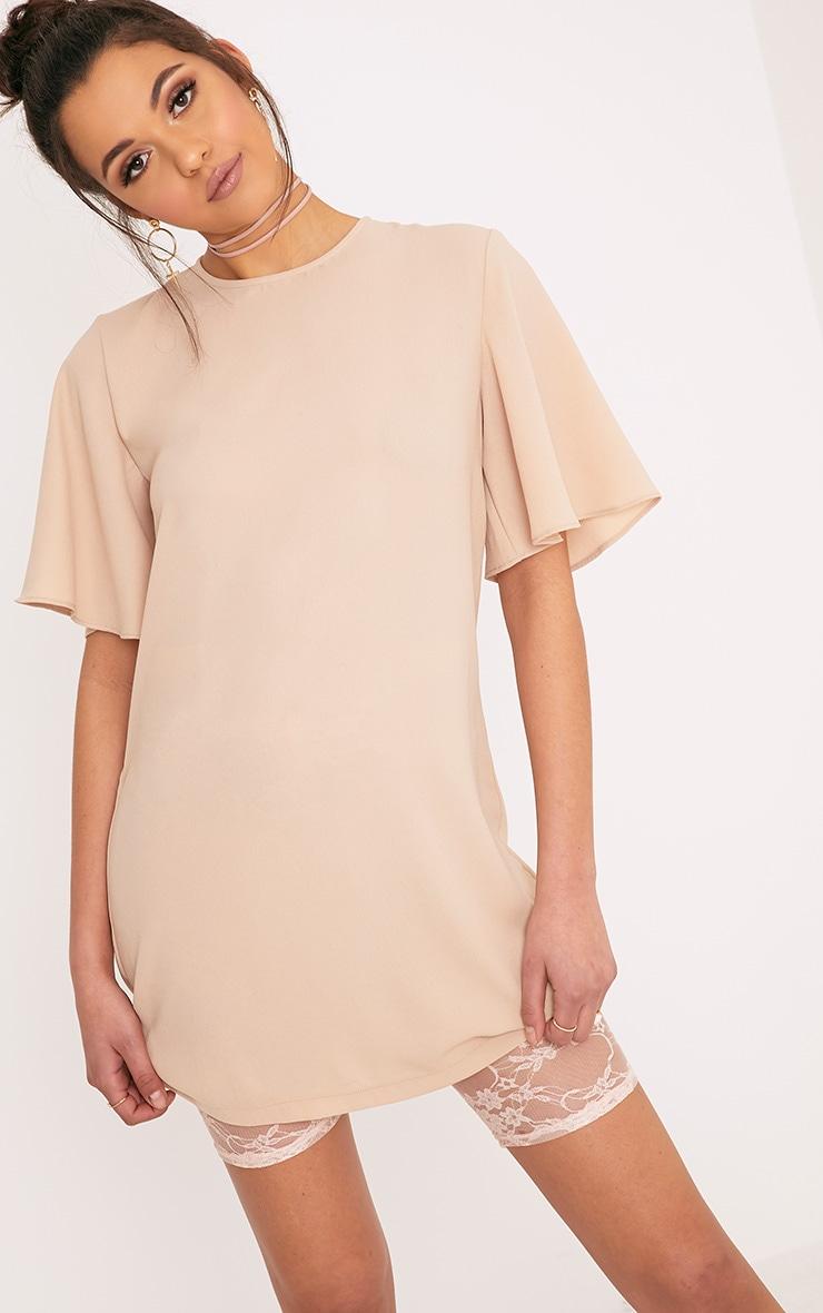 Ashanti Nude Short Sleeve Shift Dress 1