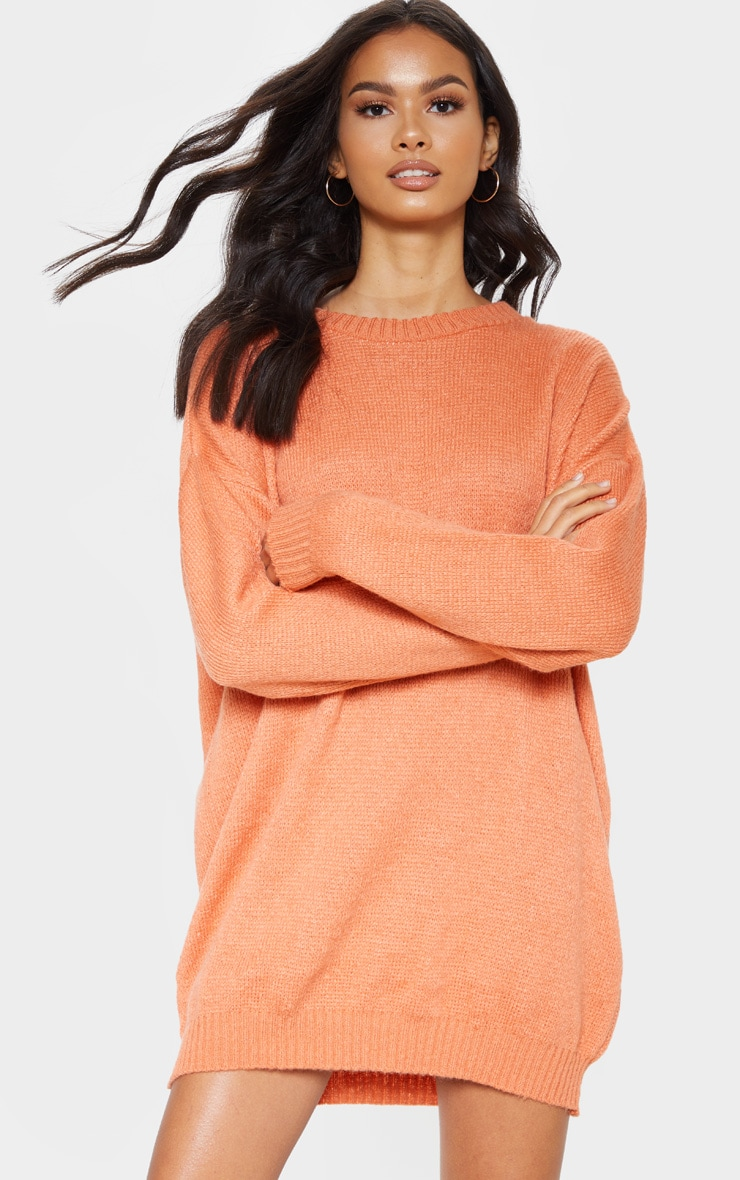Orange Oversized Knitted Jumper Dress  4