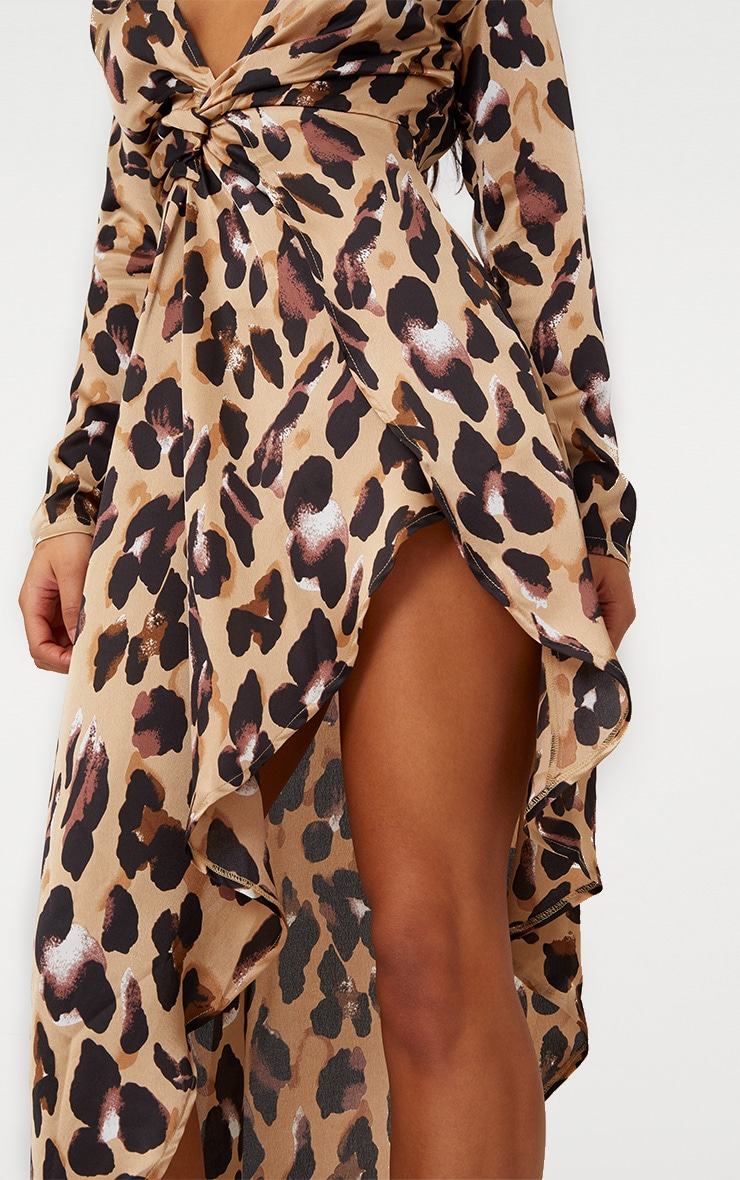 Leopard Asymmetric Hem Long Sleeve Plunge Satin Maxi Dress 4