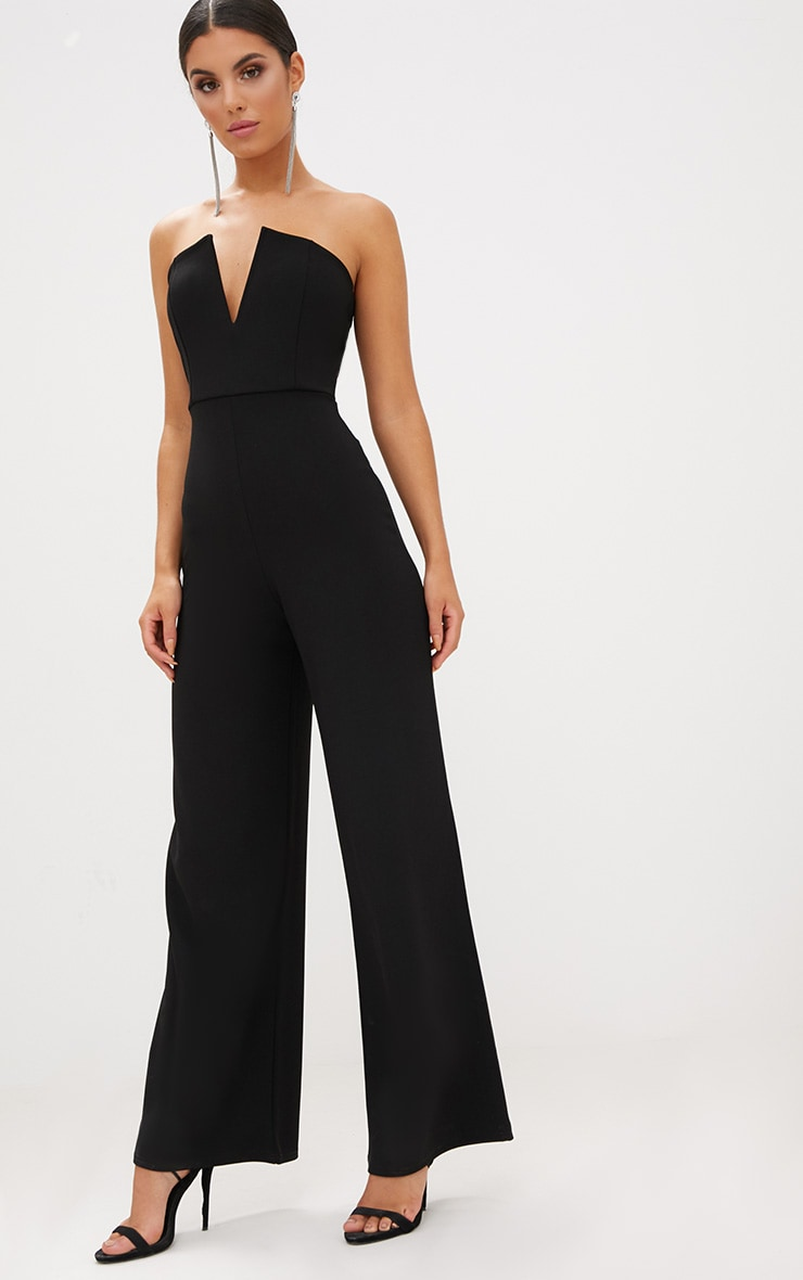 Black Crepe V Neck Bandeau Wide Leg Jumpsuit 4