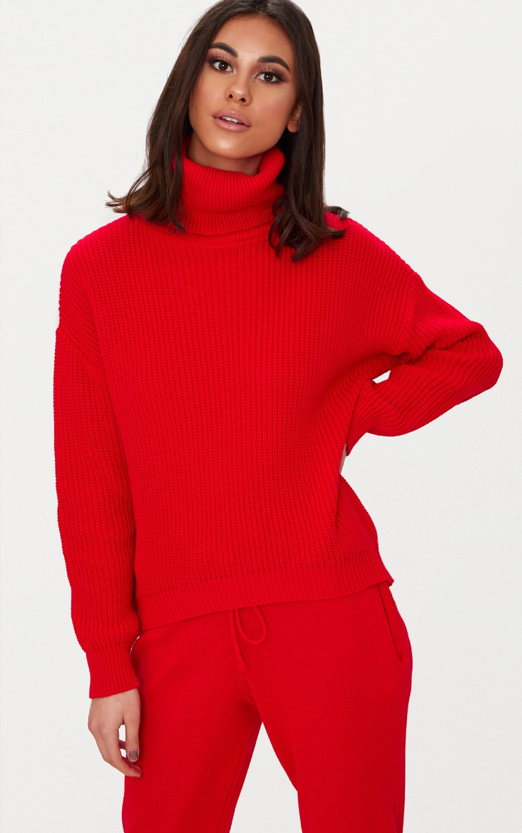 Red Roll Neck Basic Jumper 1