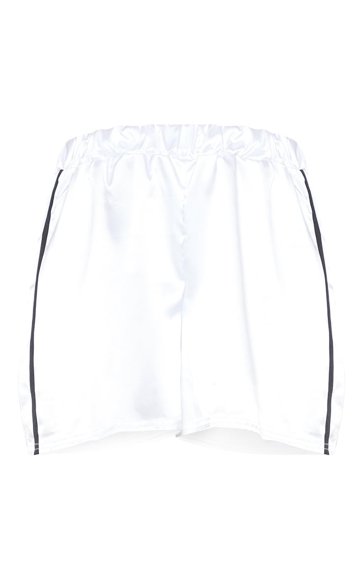 White Satin Side Stripe Runner Shorts 3