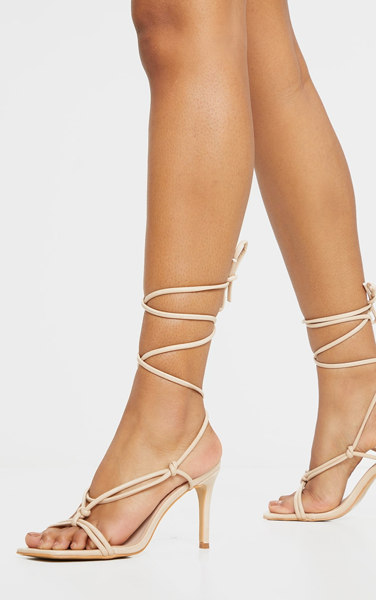 Nude Square Toe Mid Heel Lace Up Sandals 2