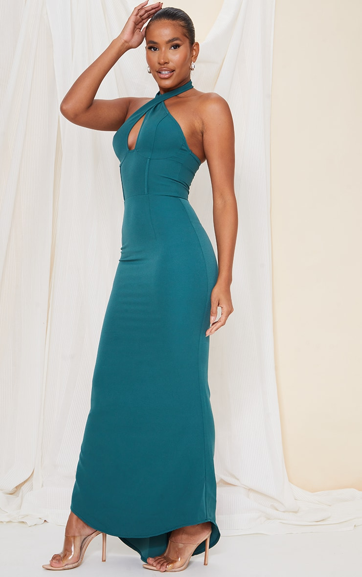 Emerald Green Bridesmaid Corset Detail Cross Front Maxi Dress 4