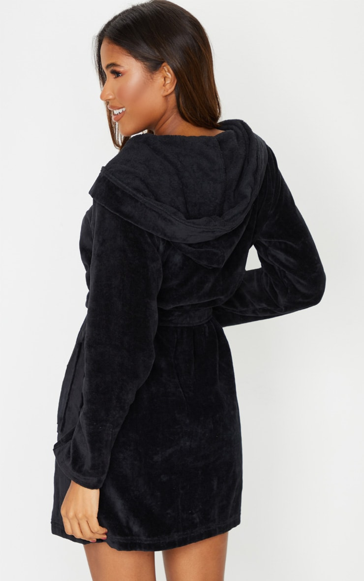 PRETTYLITTLETHING Black Hood Detail Towelled Dressing Gown 2