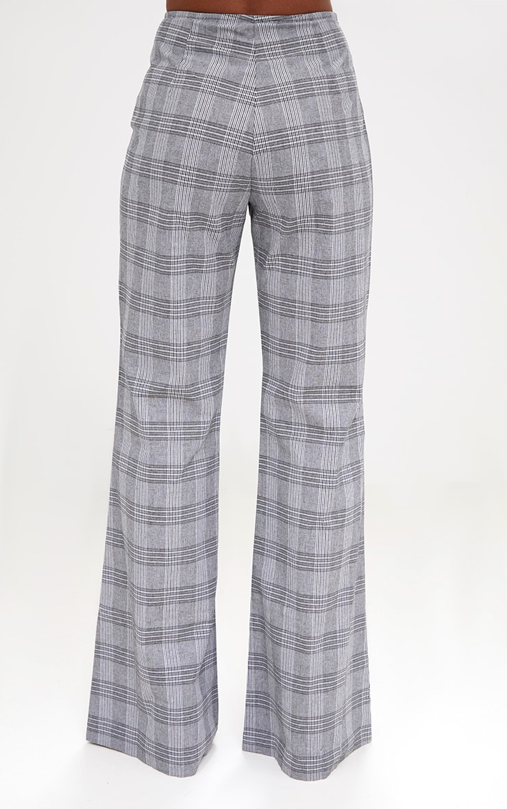 Grey Check Tailored Wide Leg Trousers 4