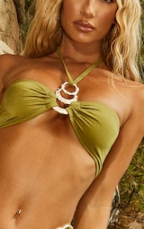 Olive Triple Ring Halterneck Bikini Top 4