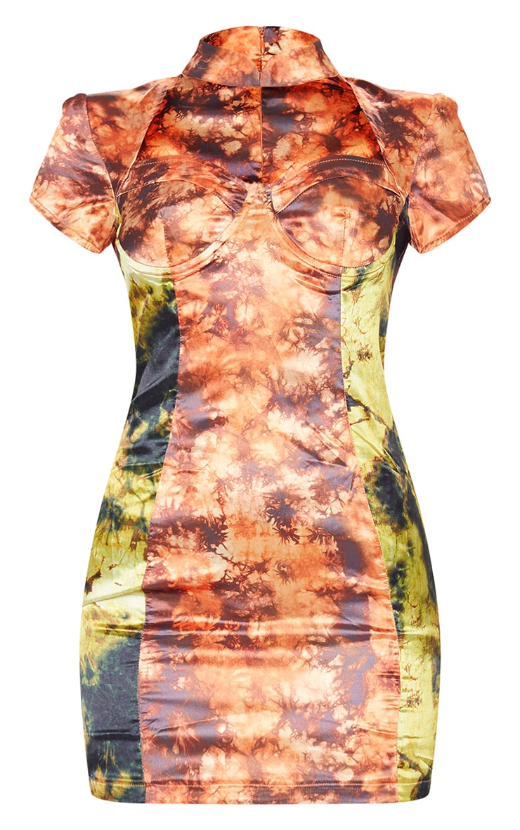 Orange Tie Dye Satin High Neck Underwire Bodycon Dress 5