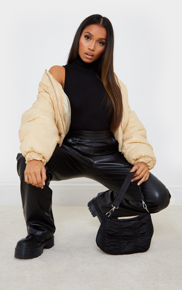 Petite Black Jersey Cropped Roll Neck Top 3