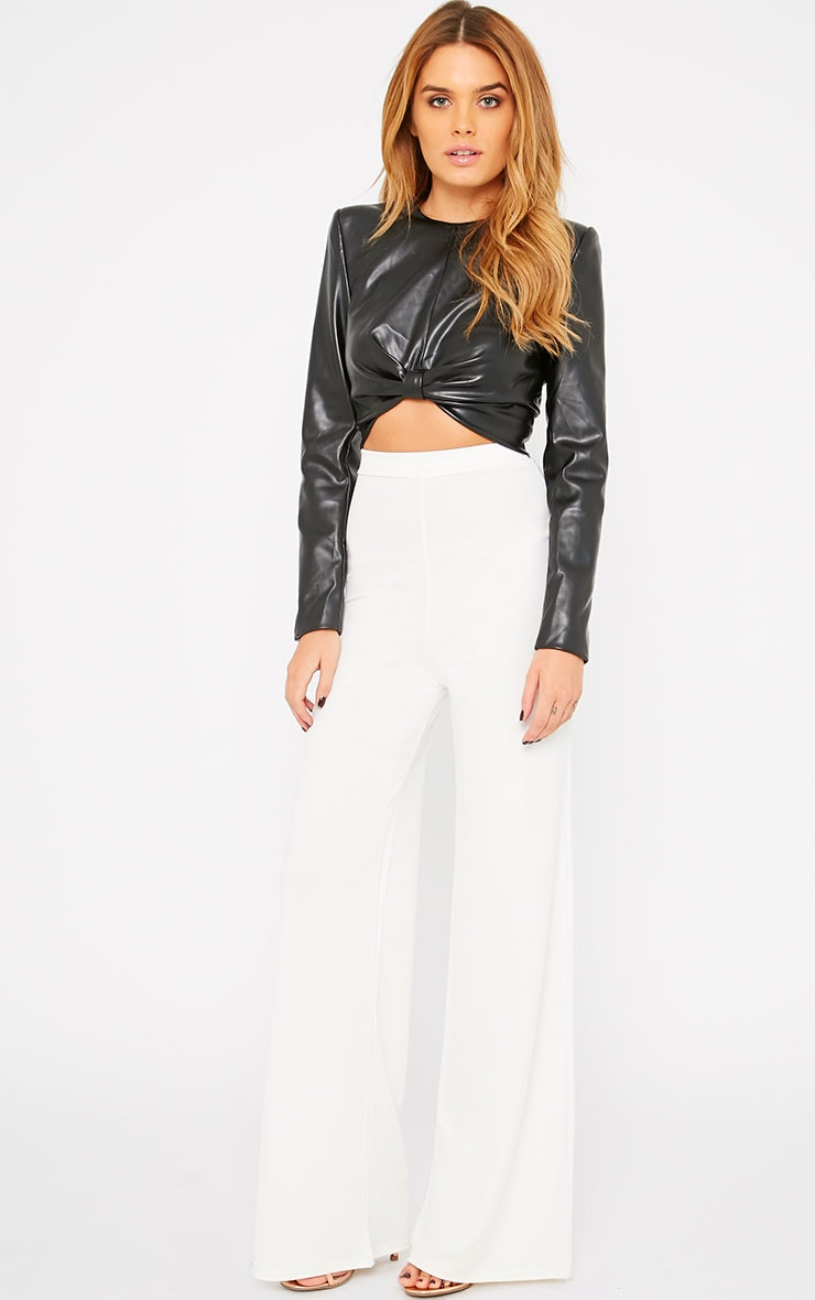 Analise Black Leather Bow Front Crop Top  4