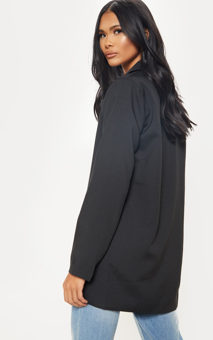 Black Super Oversized Woven Blazer 4