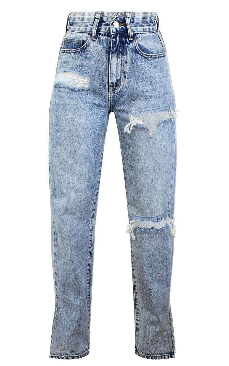 Petite Ice Blue Ripped Split Hem Jeans 5
