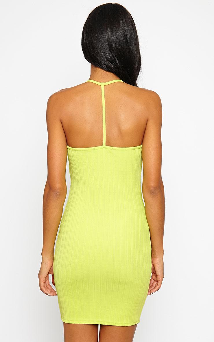 Kyla Lime Ribbed Mini Dress 2