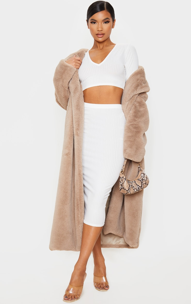 Cream Ribbed High Waist Midi Skirt 1