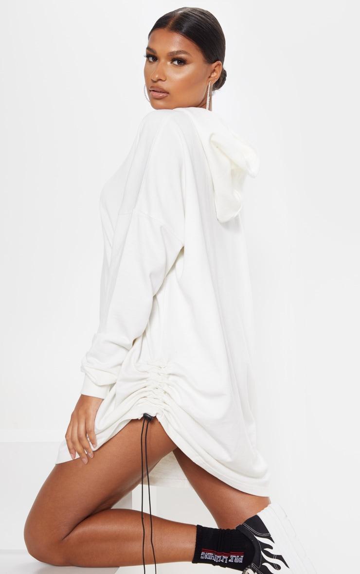 Ecru Ruched Side Hoodie Jumper Dress 5