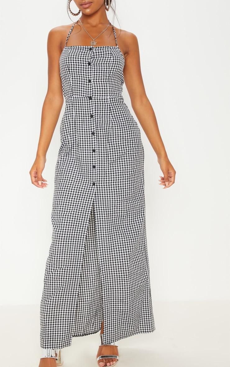 Black Gingham Halterneck Button Front Maxi Dress 5