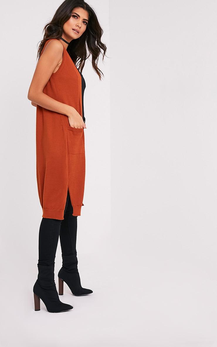 Arlais Orange Long Line Fine Knit Cardigan 4