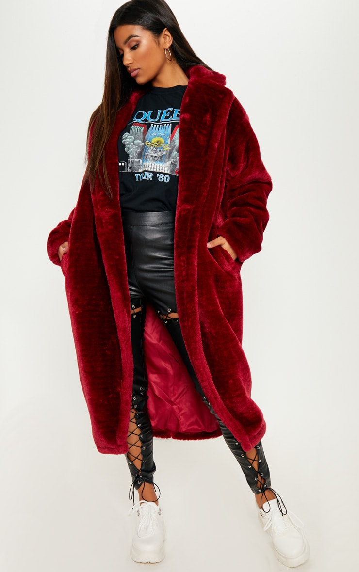 Faux Fur Burgundy Coat  1
