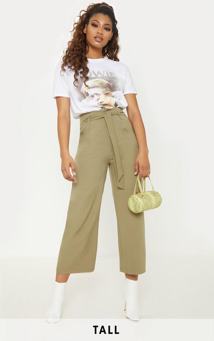 Tall Olive Green Woven Belt Detail Wide Leg Culotte 1