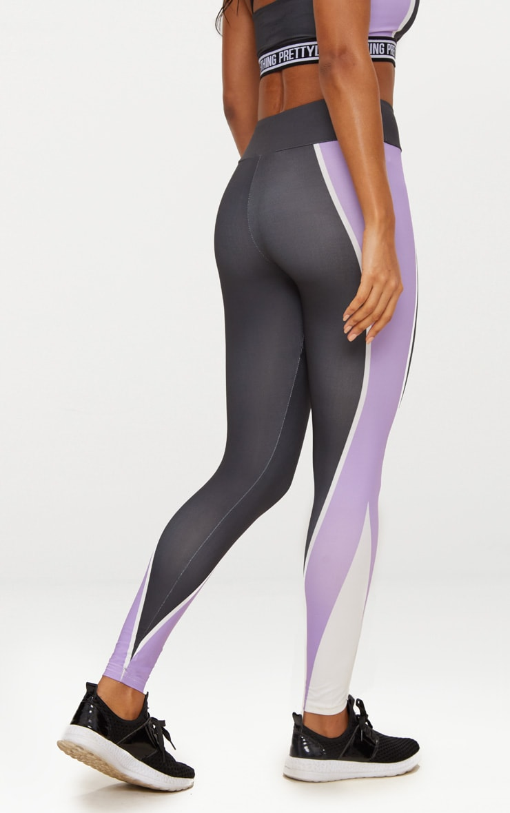 Charcoal Panelled Lilac Stripe Sports Leggings  4