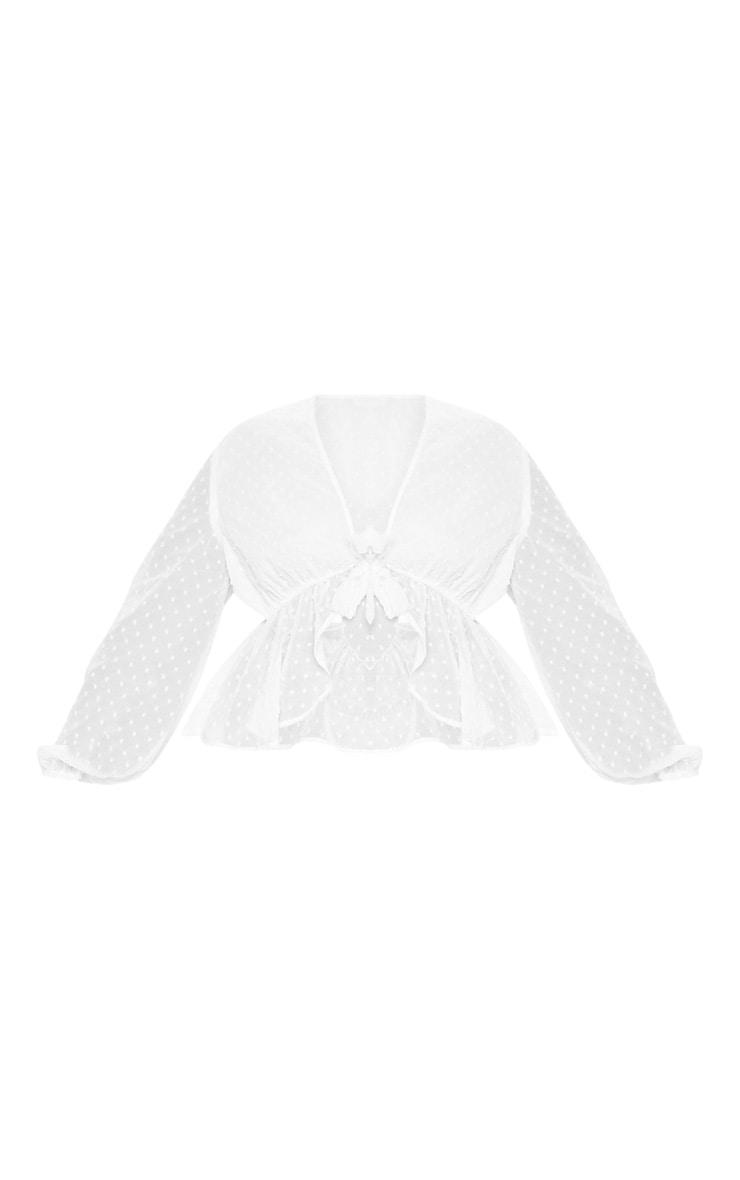 Plus White Dobby Mesh Tie Front Blouse 3
