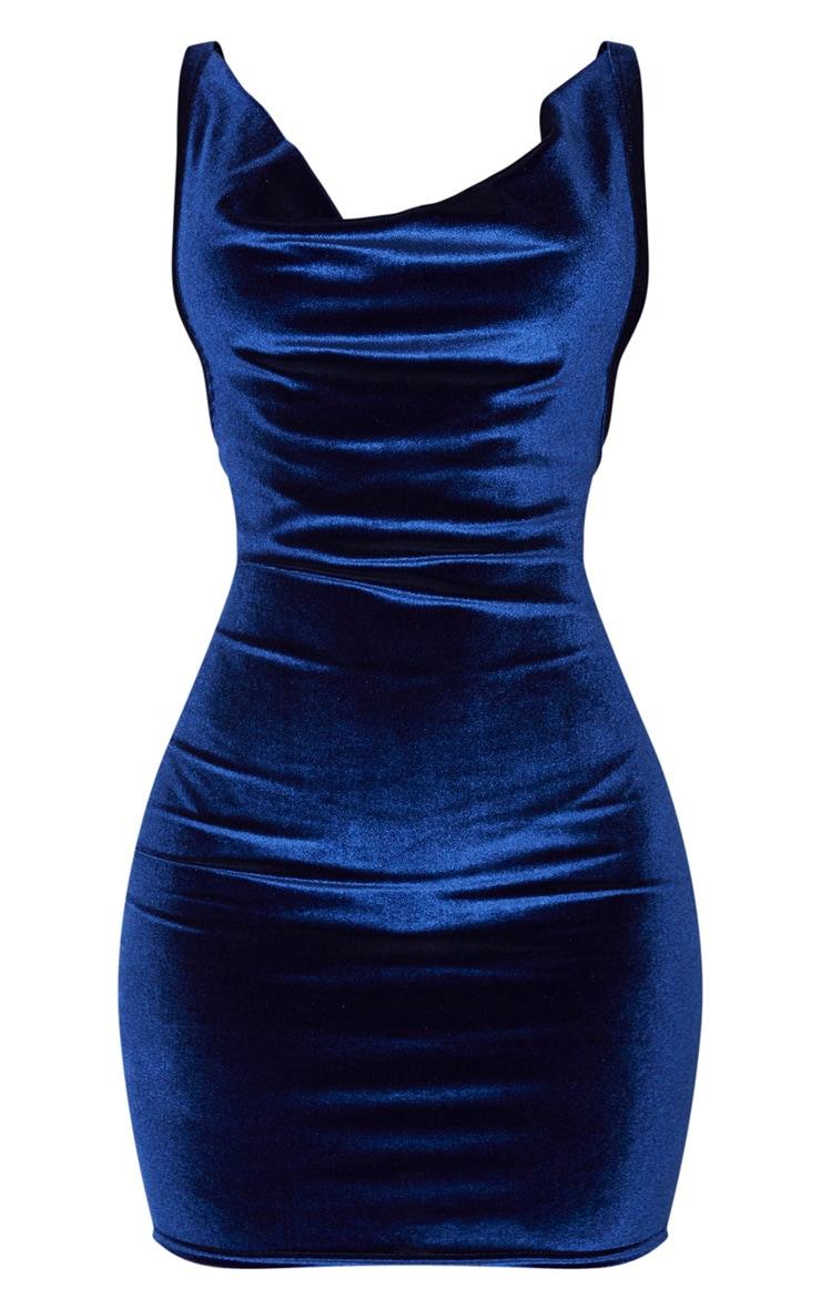 Navy Velvet Cowl Neck Bodycon Dress 3