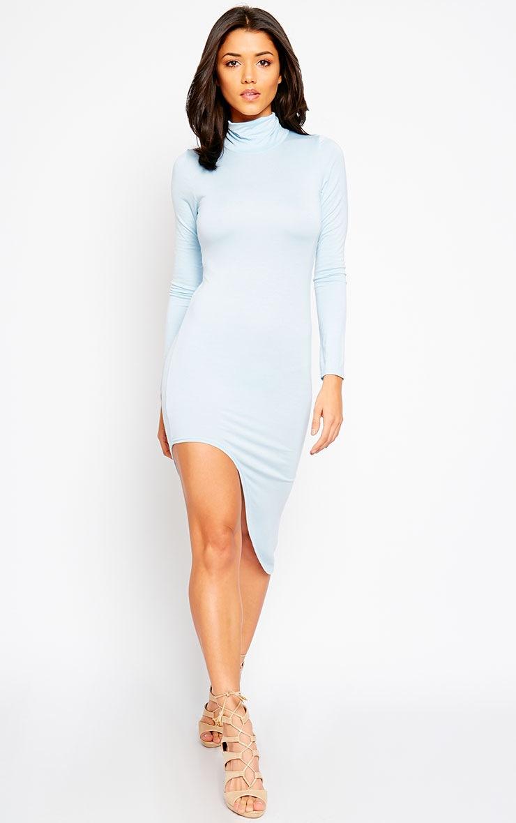 Ricky Powder Blue High Neck Jersey Dress 4