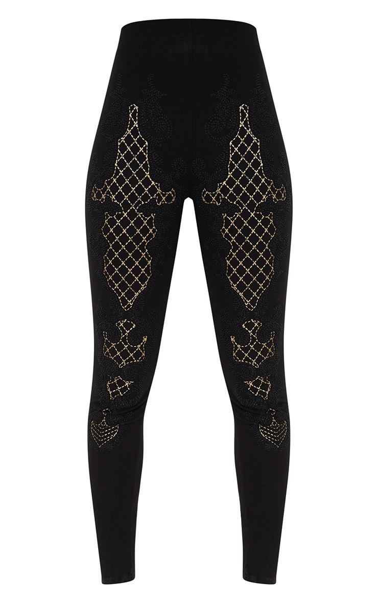 Black Glitter Caviar Print Leggings 3