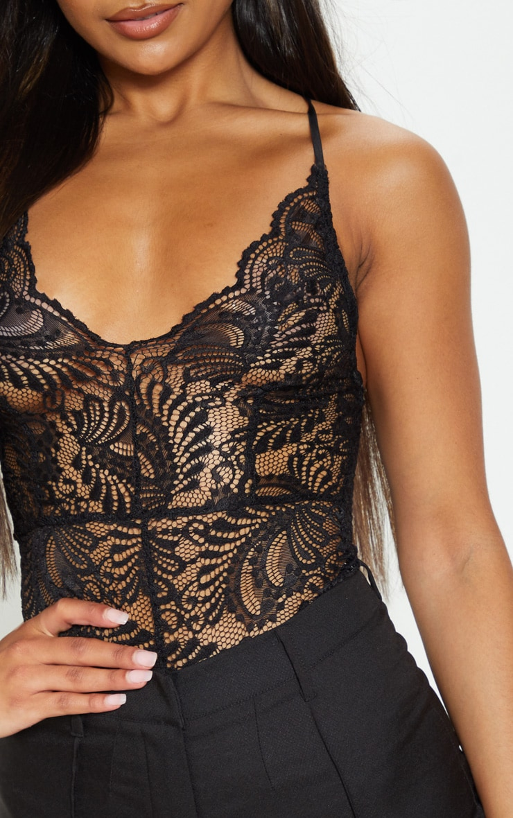 Lucille Black Sheer Lace Cross Back Bodysuit 6
