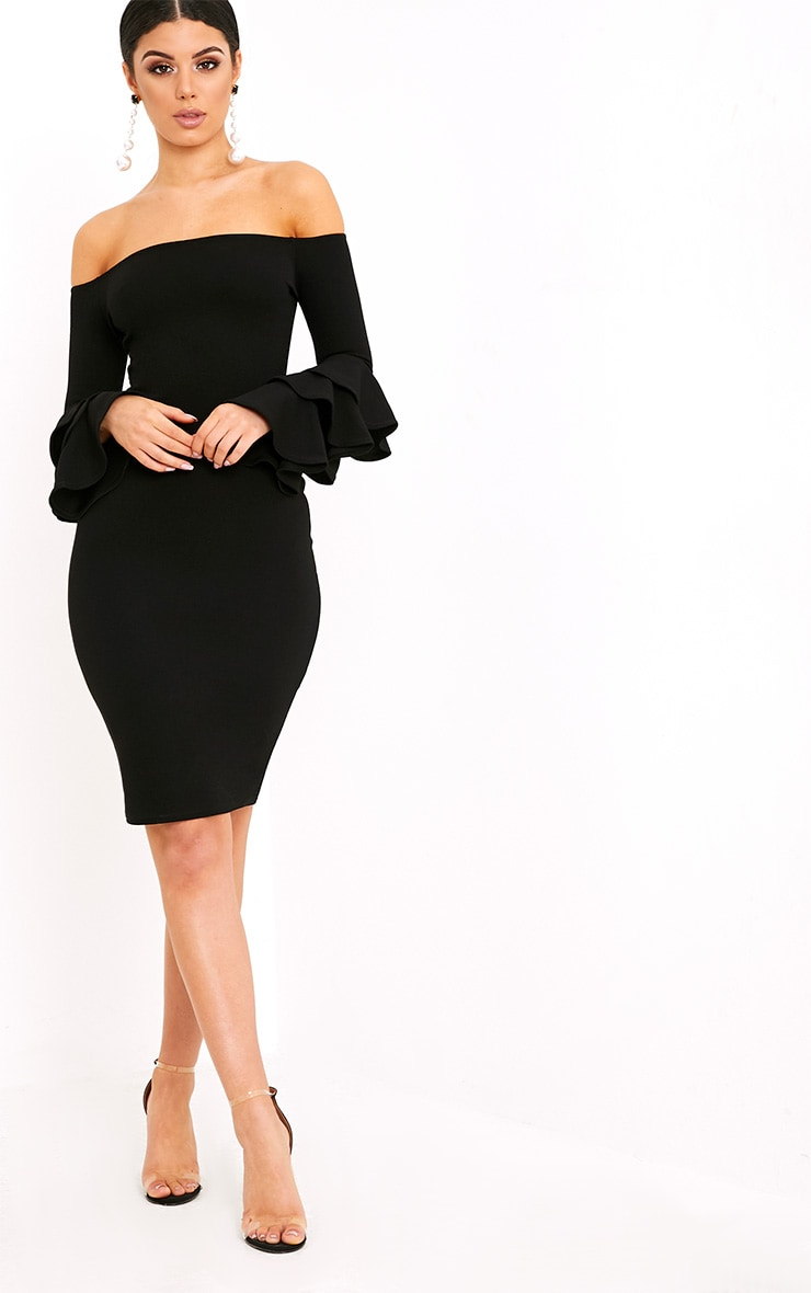 Aniaa Black Bardot Ruffle Sleeve Midi Dress 4