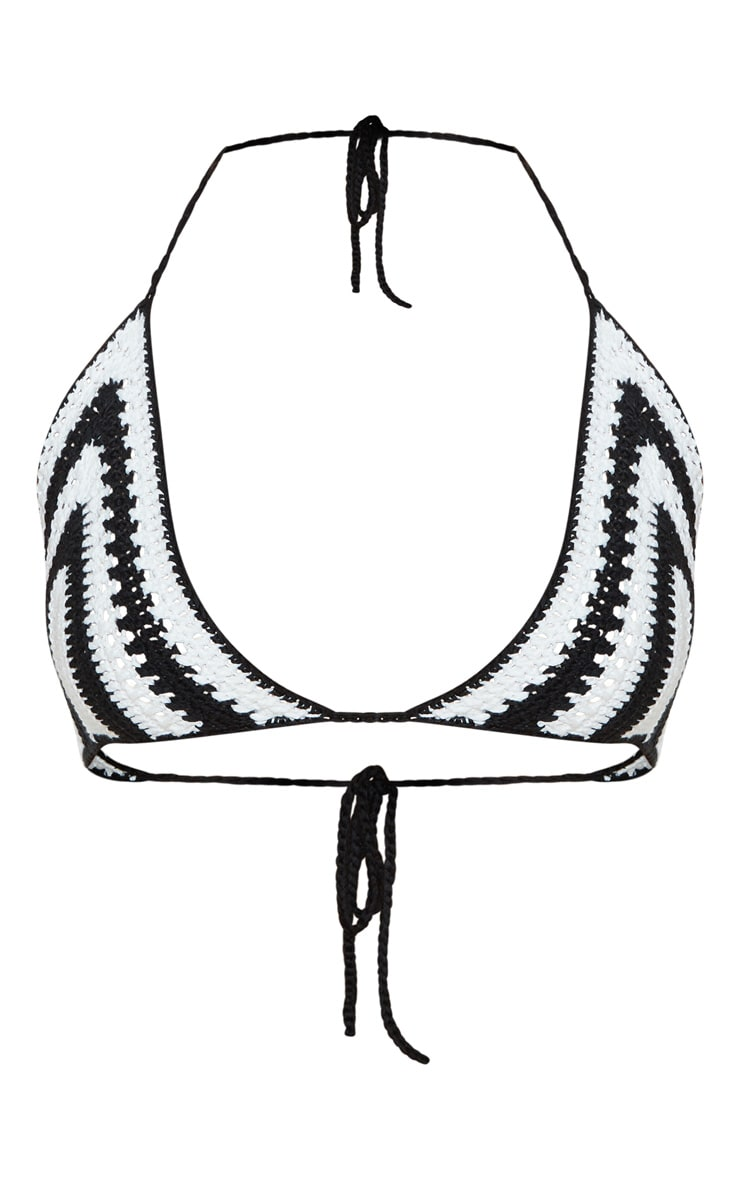 Haut de bikini en crochet noir & blanc à rayures 3