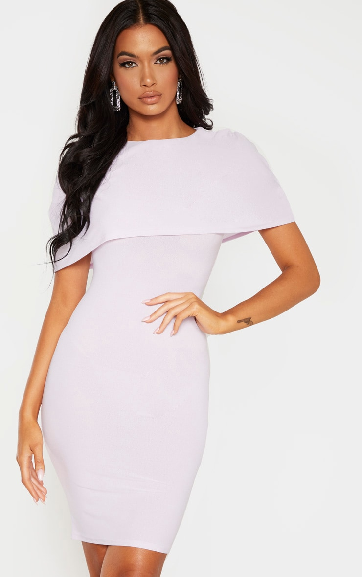 Lilac Cape Detail Midi Dress 4