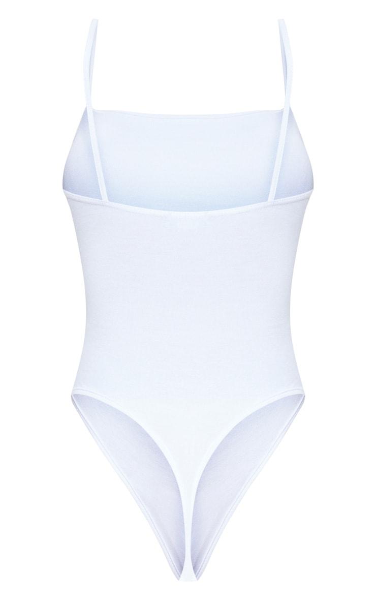 Basic Square Neck White Thong Bodysuit 4