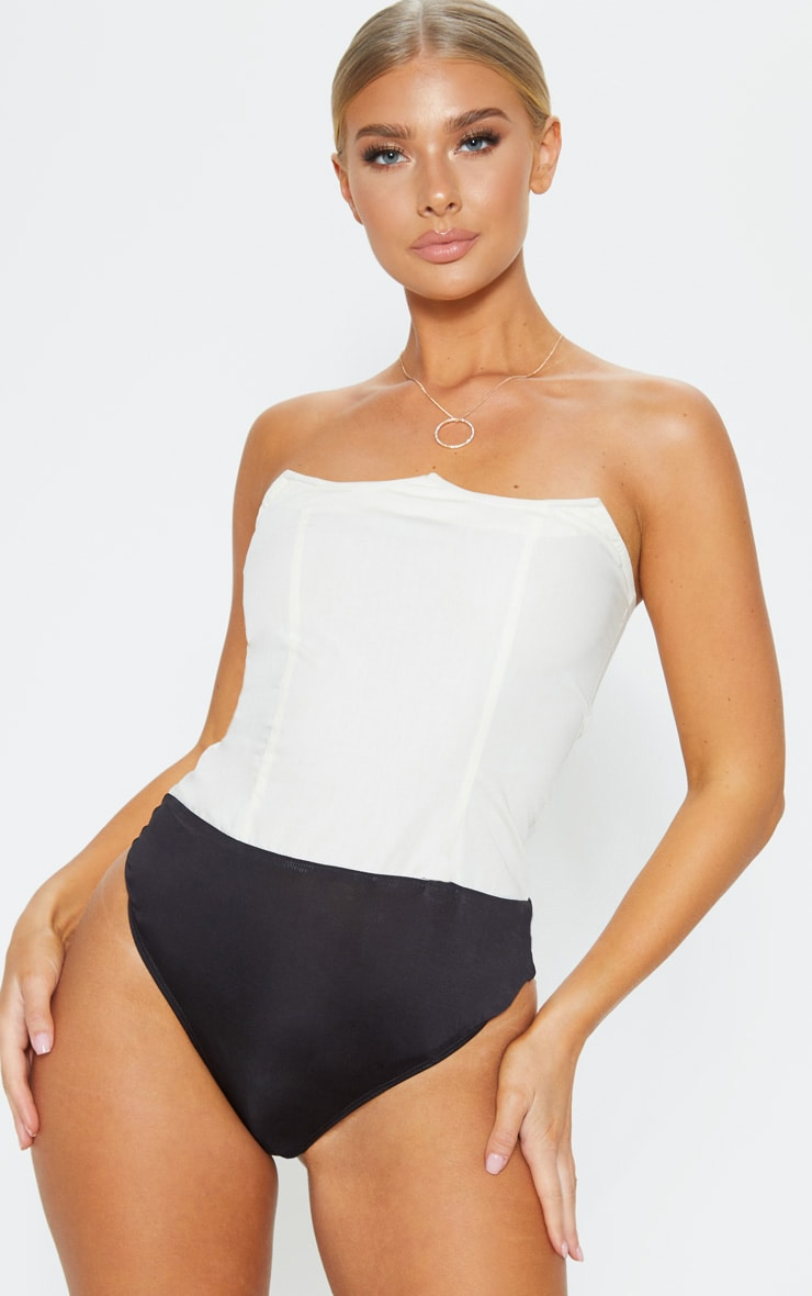 Cream Wired Bandeau Bodysuit 2