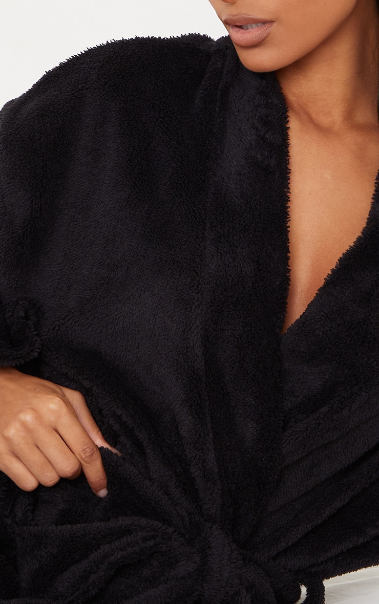 Black Oversized Fluffy Dressing Gown 4