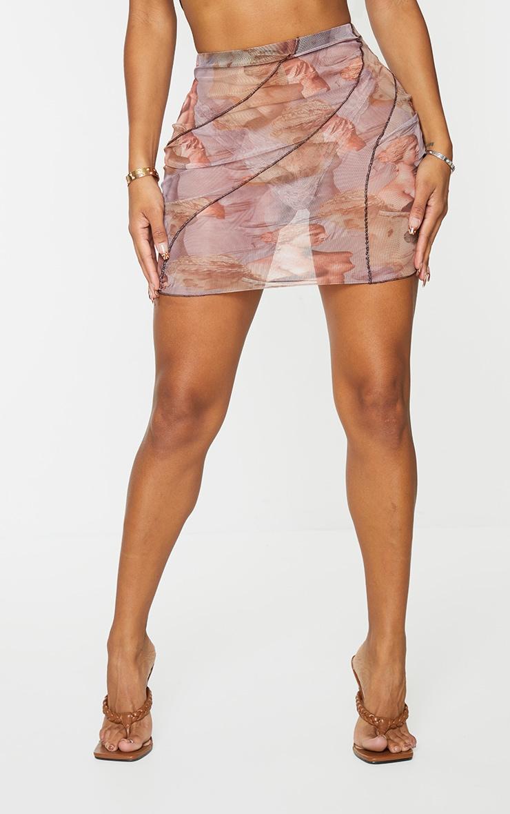 Shape Lilac Renaissance Print Sheer Mesh Seam Detail Bodycon Skirt 2