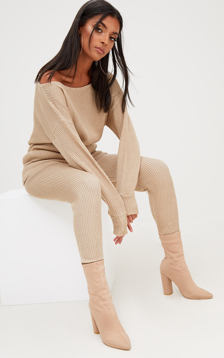 Stone Ribbed Knitted Lounge Tracksuit 1