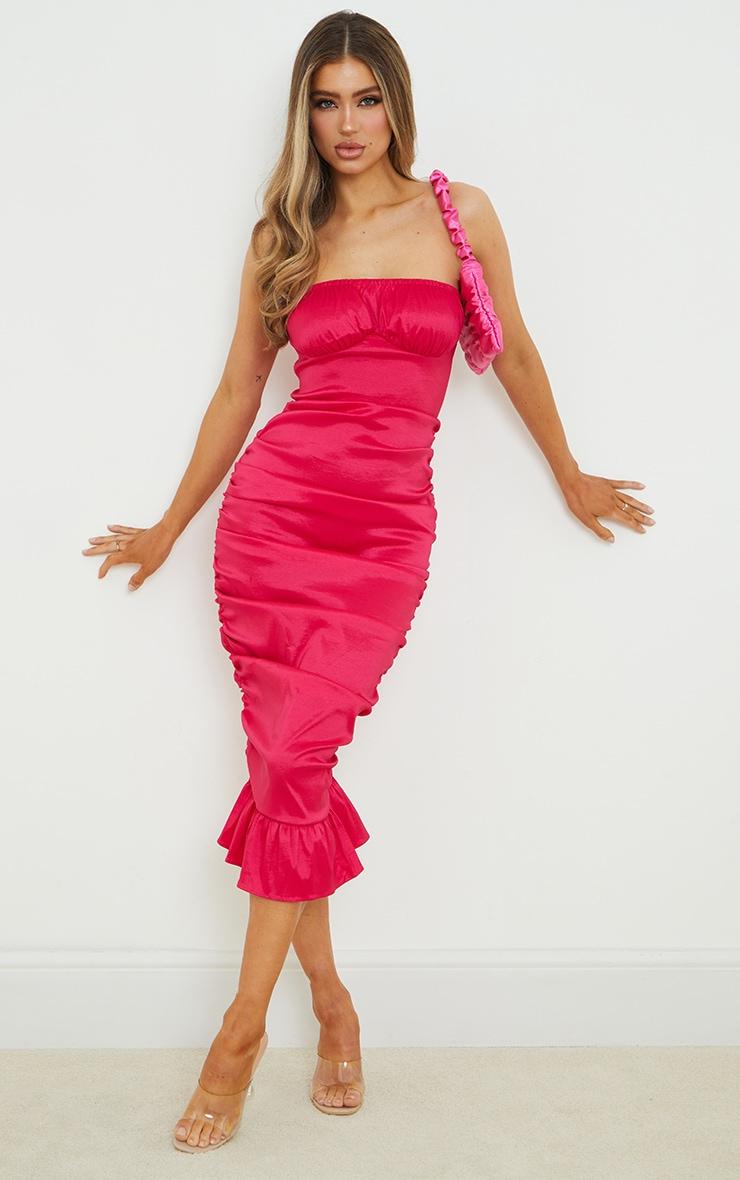 Hot Pink Taffeta Bust Seam Ruched Bandeau Midi Dress 1